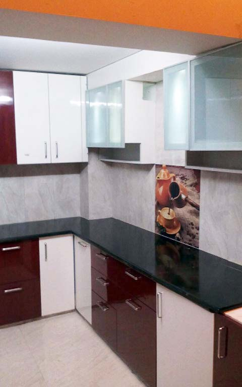 Modular Maroon-themed Kitchen! by Dezire modular kitchen & Interiors Modular-kitchen   Interior Design Photos & Ideas