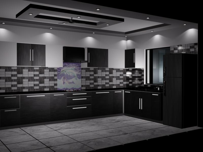 Dark themed modern kitchen by VS interiors Modular-kitchen | Interior Design Photos & Ideas