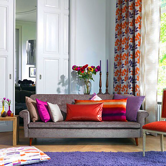 Beautiful tangerine themed living room decor by Drapes & Spreads Living-room | Interior Design Photos & Ideas