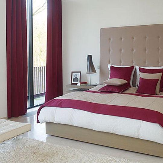 Modern magenta themed master bedroom decor by Drapes & Spreads Bedroom | Interior Design Photos & Ideas