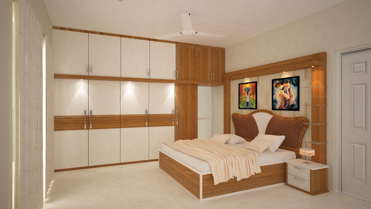 An Elegant Master Bedroom With Wooden Furniture by Megha Jain Bedroom | Interior Design Photos & Ideas