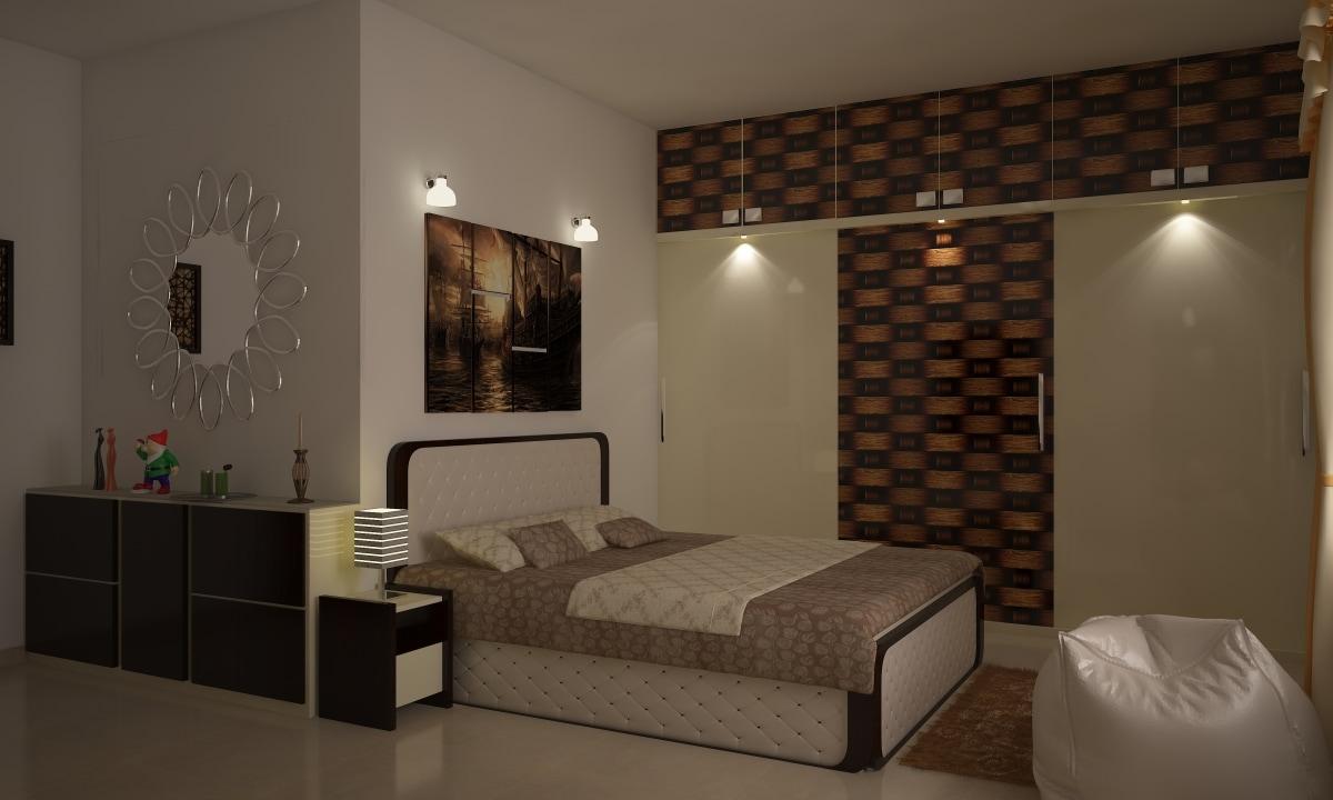 A Master Bedroom With A White Bean Bag by Decor Dreams Bedroom | Interior Design Photos & Ideas