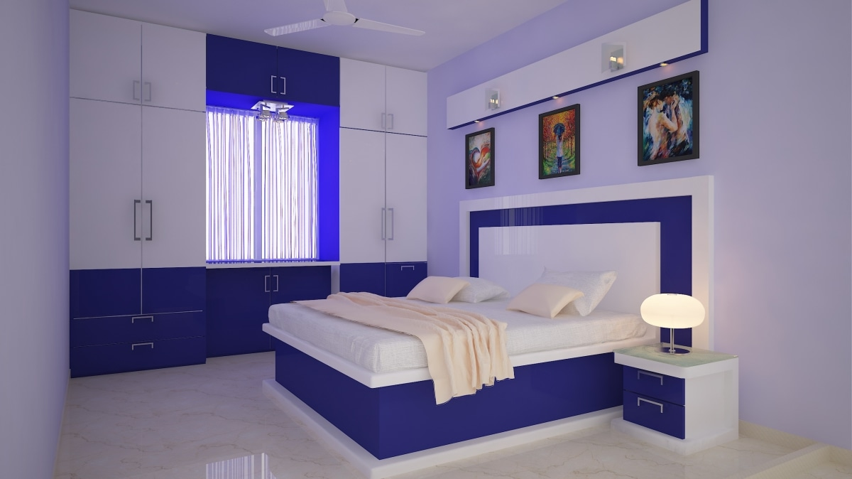 Blue And White Theme Bedroom by Decor Dreams Bedroom | Interior Design Photos & Ideas