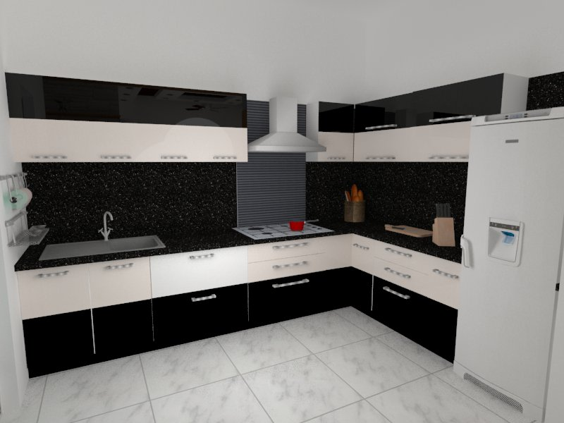 L-Shaped Black And White Modular kitchen by Megha Jain