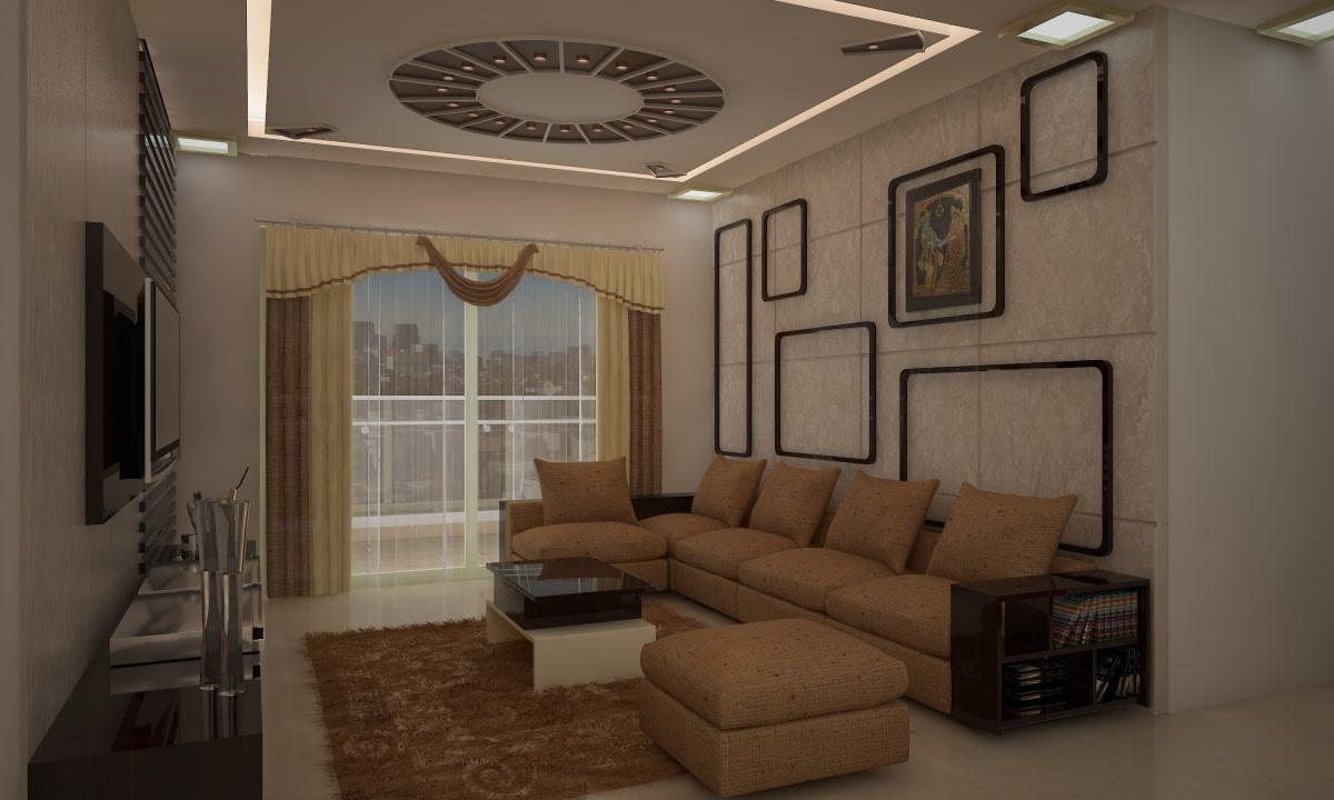 L-Shaped Sofa In Living Room With White Walls by Megha Jain Living-room Contemporary | Interior Design Photos & Ideas