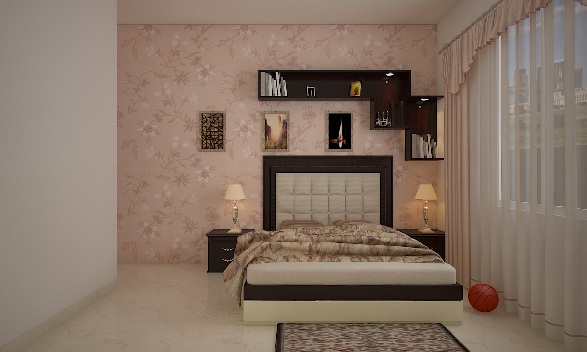 A Master Bedroom With A Flowery Pink Wallpaper by Megha Jain Bedroom | Interior Design Photos & Ideas