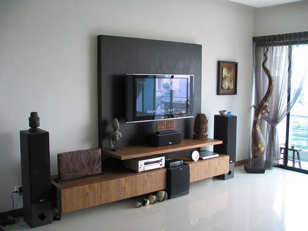 Television Unit With Wooden Display Unit In Living Room by Megha Jain Living-room Modern | Interior Design Photos & Ideas