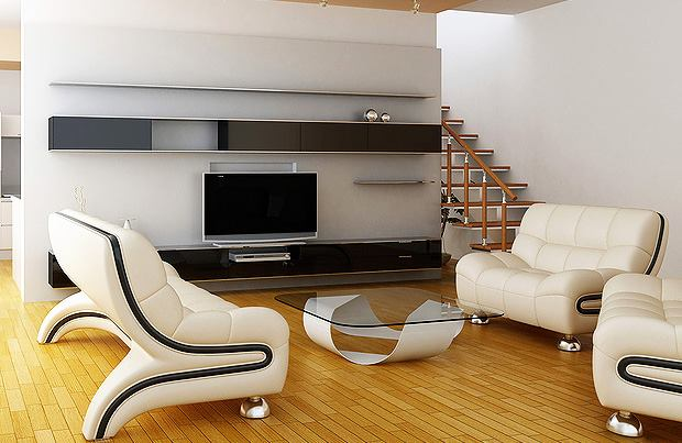 White Shaded Living Room With Comfortable Lounge Chairs by Megha Jain Living-room Contemporary | Interior Design Photos & Ideas