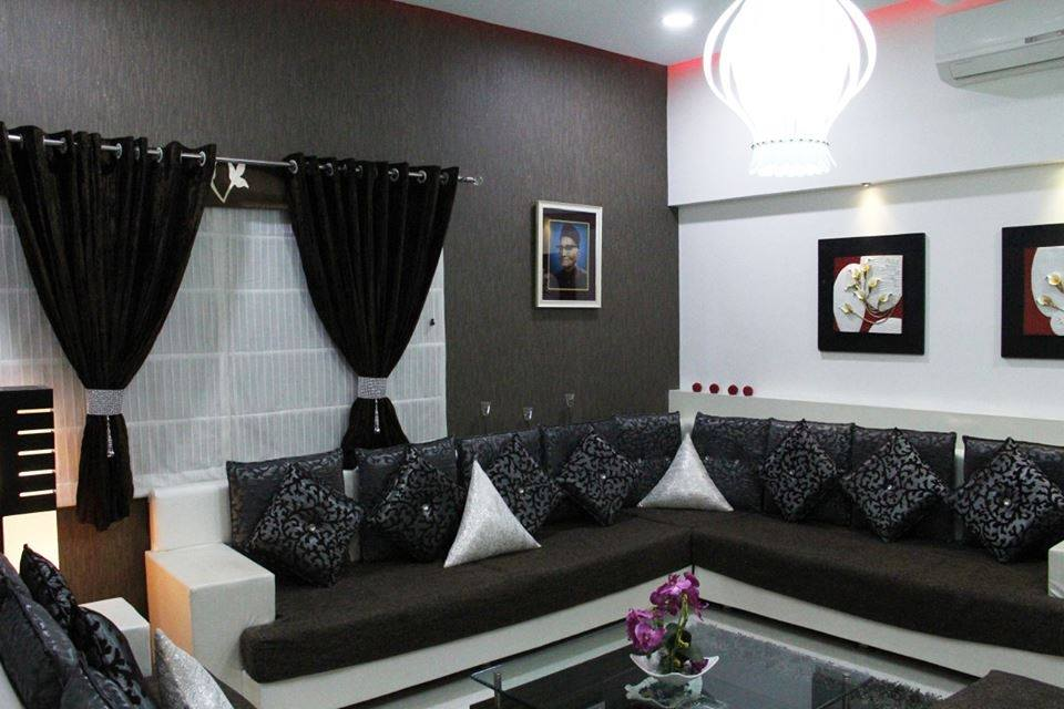 Black And White Sectional Sofa With Black Curtains by Megha Jain Living-room Modern | Interior Design Photos & Ideas