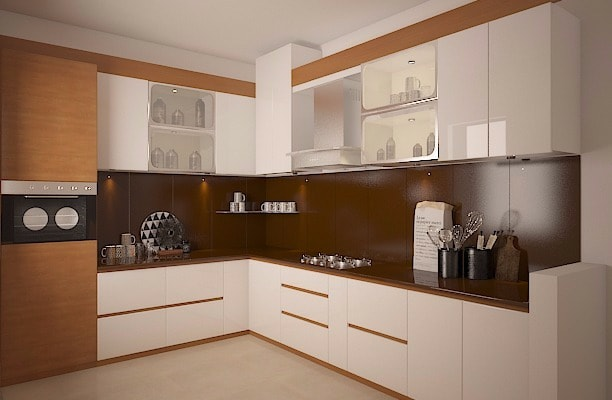 Brown And White L Shaped Modular Kitchen by Megha Jain Modular-kitchen Modern | Interior Design Photos & Ideas
