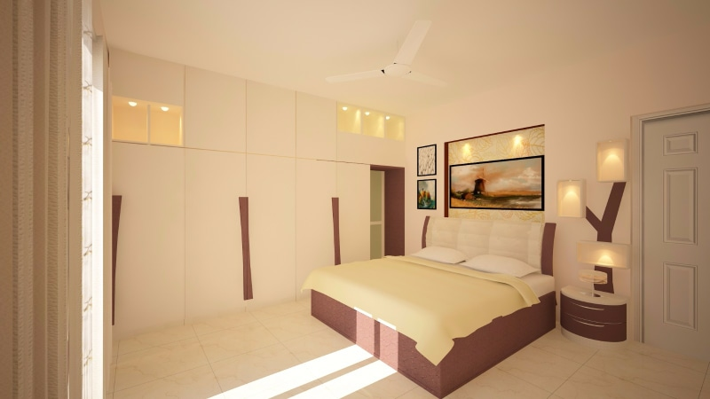 White Shaded Bedroom With Wall Mounted Wardrobe by Megha Jain Bedroom Contemporary | Interior Design Photos & Ideas