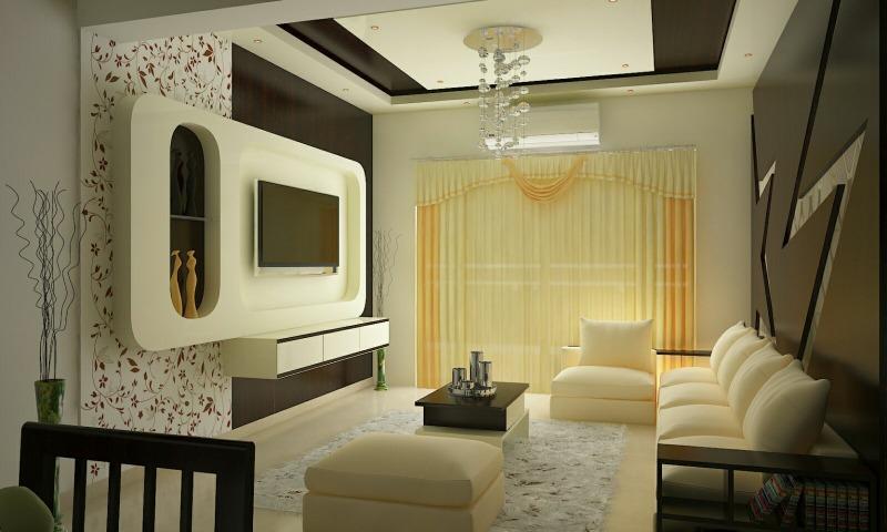 A Premium Off White Contemporary Living Room by Megha Jain Living-room Modern | Interior Design Photos & Ideas