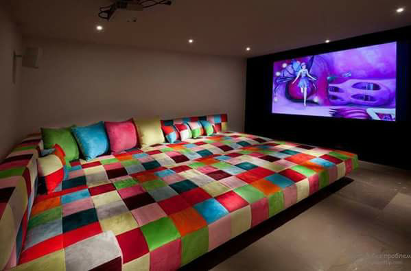 A Premium Contemporary Living Room With A Projector by Megha Jain Living-room Contemporary | Interior Design Photos & Ideas