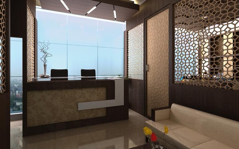 Clinic Decor Reception With Textured Partition by Ankur Tulsyan  Modern | Interior Design Photos & Ideas