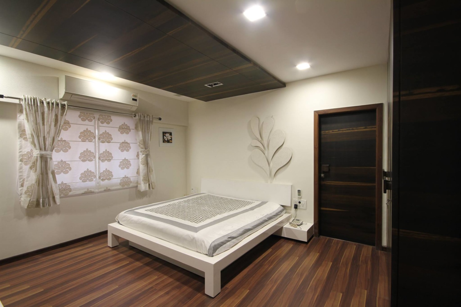 White Themed Bedroom With Wooden Flooring by Ankur Tulsyan  Bedroom Minimalistic | Interior Design Photos & Ideas