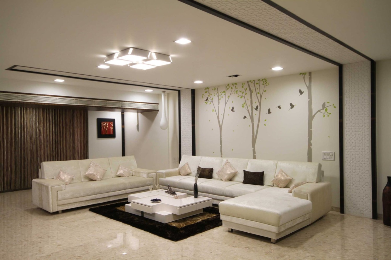 White Themed Living Room With Tree Wall Art by Ankur Tulsyan  Living-room Modern | Interior Design Photos & Ideas