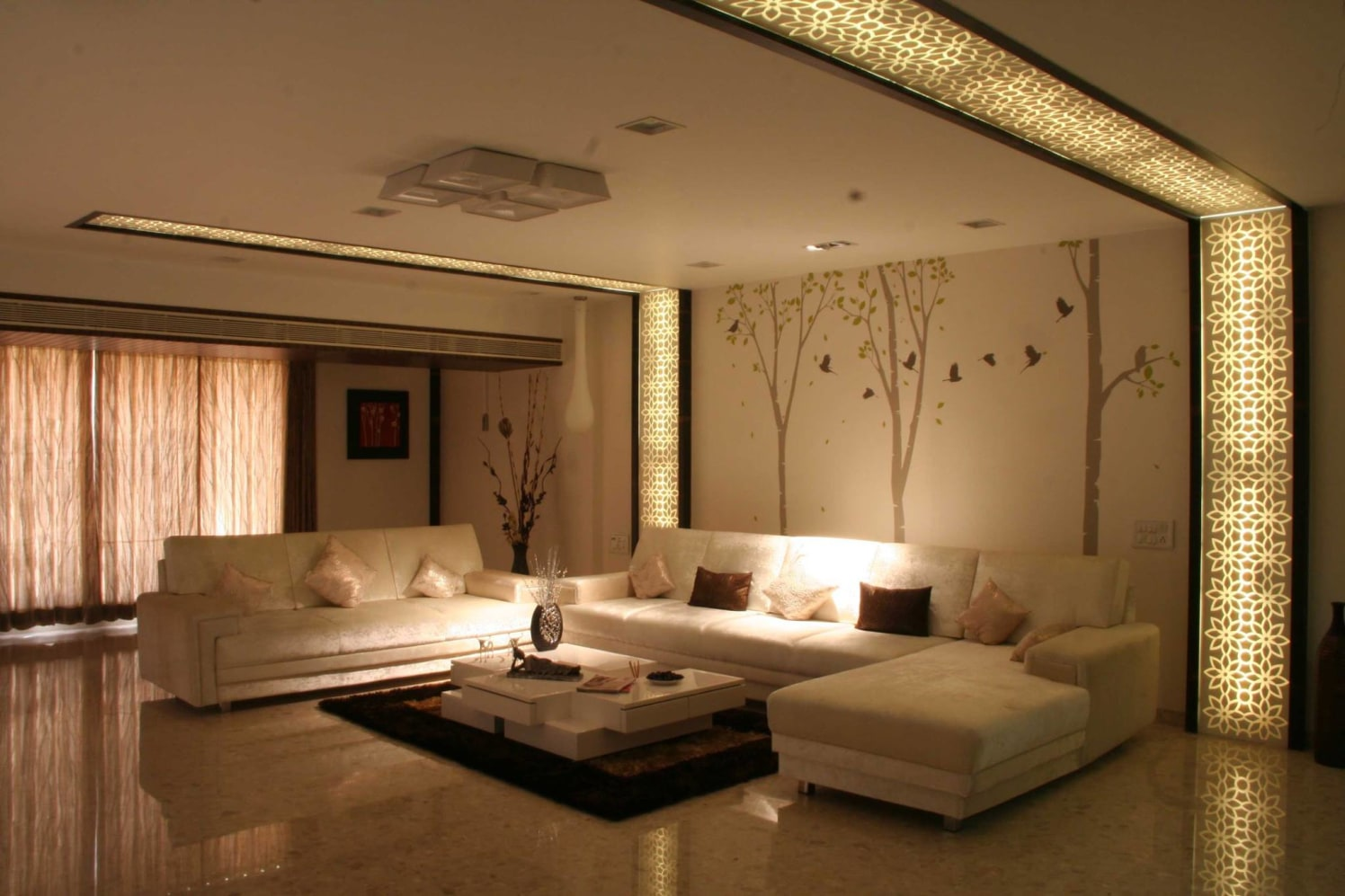 Living Room With Illuminating Wall Frames by Ankur Tulsyan  Living-room Modern | Interior Design Photos & Ideas