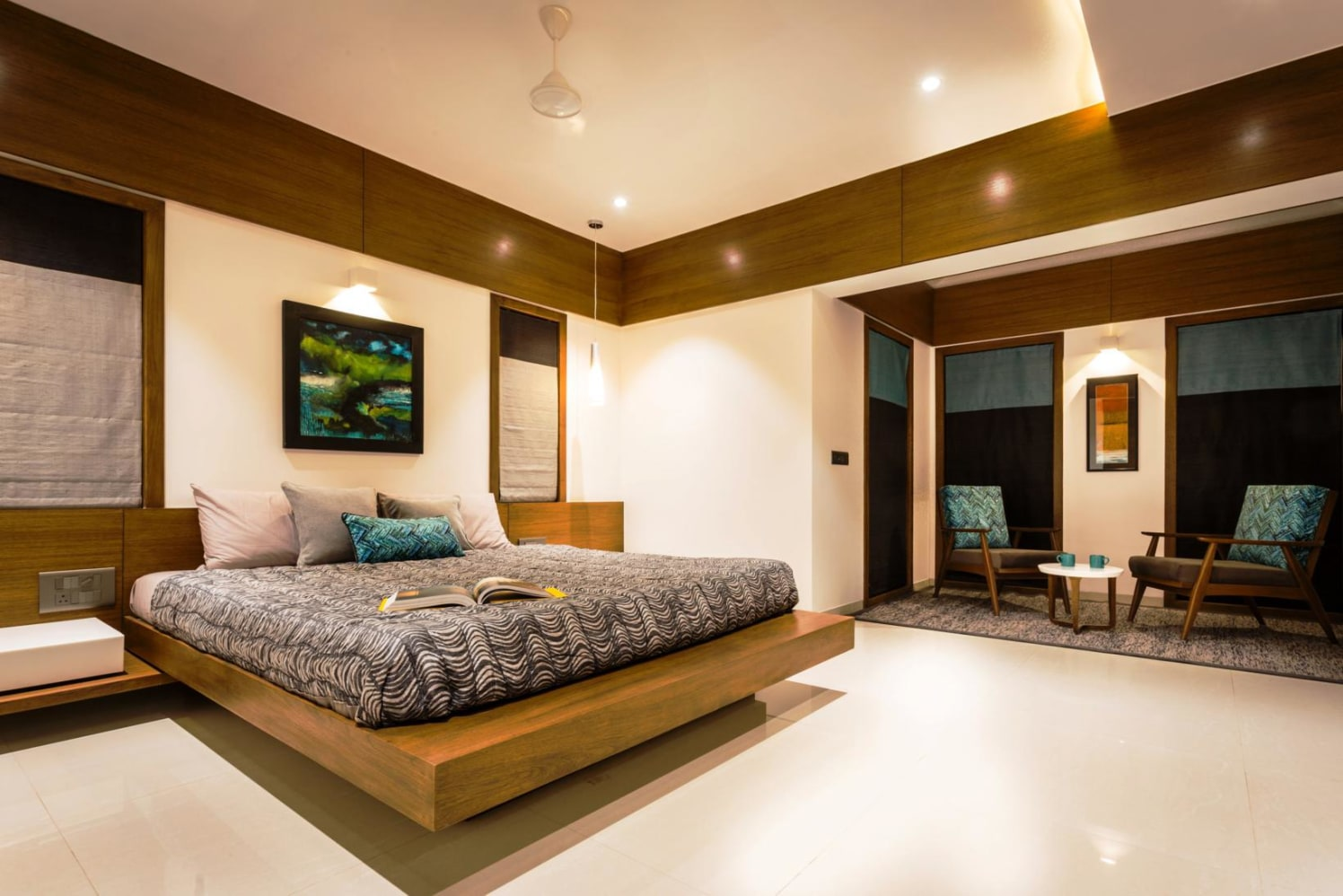 Bedroom With Wood Finish Ceiling by Ankur Tulsyan  Bedroom Modern | Interior Design Photos & Ideas