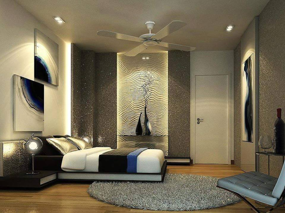 3-D Effect  Bedroom Decor With Abstract Wall Art and Soft Rug by Ankur Tulsyan  Bedroom Contemporary | Interior Design Photos & Ideas