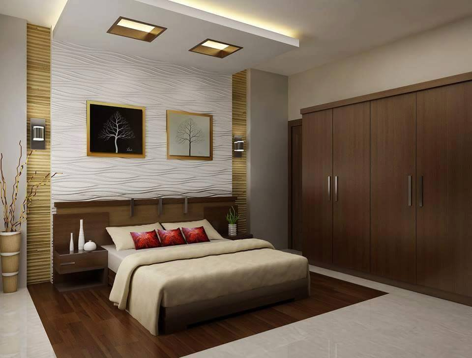 Neutral  Bedroom Decor With Red Detailing and Wooden Wardrobe by Ankur Tulsyan  Bedroom Modern | Interior Design Photos & Ideas