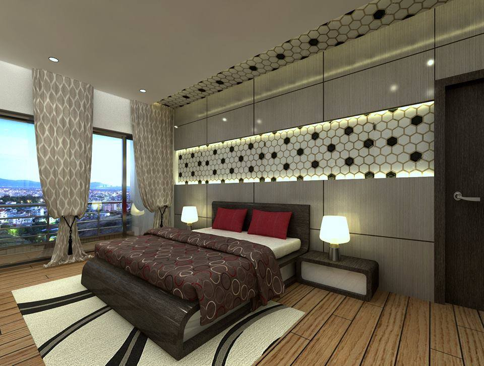 Bedroom With Geometrical Illuminated Wall Pattern by Ankur Tulsyan  Bedroom Contemporary | Interior Design Photos & Ideas