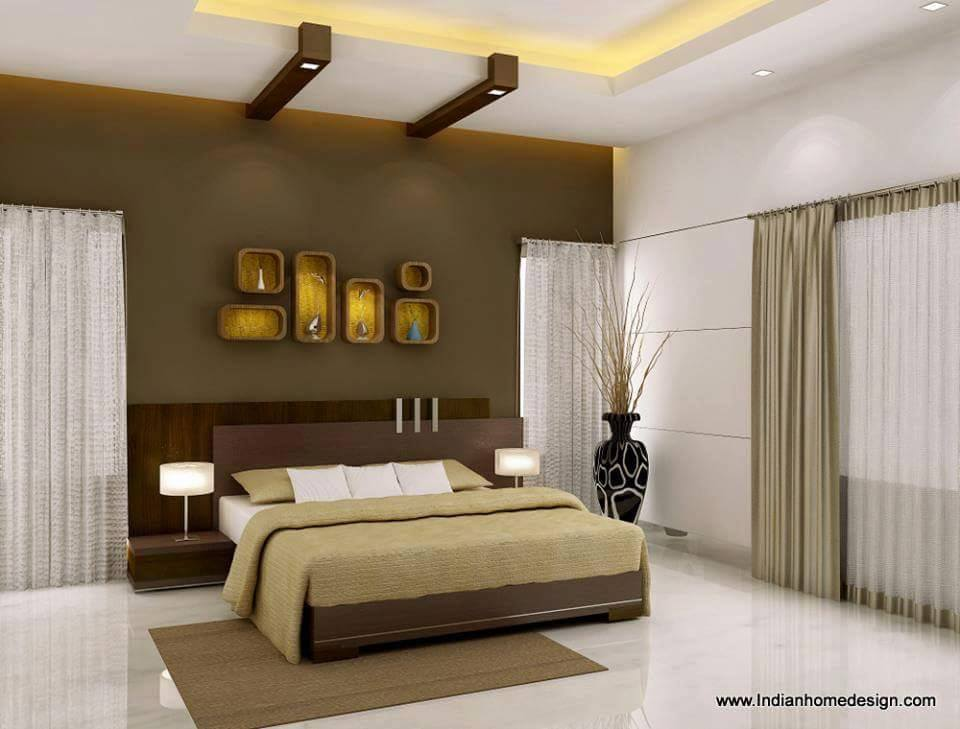 Neutral Themed Bedroom With Wall Display Unit by Ankur Tulsyan  Bedroom Modern | Interior Design Photos & Ideas