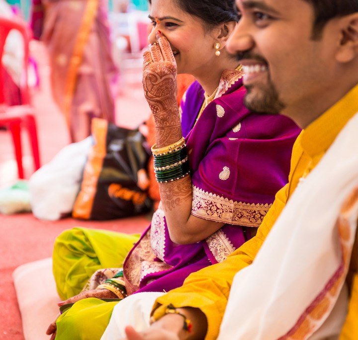 A candid picture of the smiling bride and groom by Pankaj Rokade Photography  Wedding-photography | Weddings Photos & Ideas