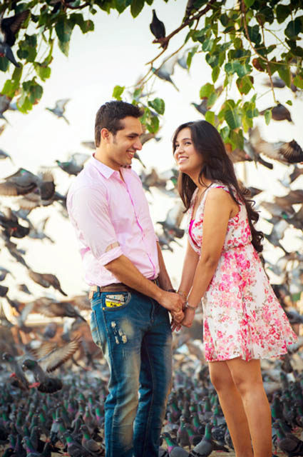 Happy Bride and Groom To-Be Against Beautiful Backdrop by Dhanika Choksi Wedding-photography | Weddings Photos & Ideas