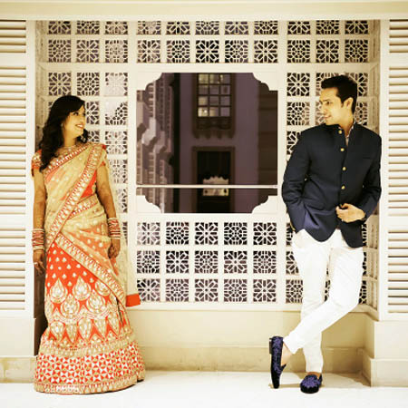 Bride and Groom To-Be Against an Intricate Pattern Frame by Dhanika Choksi Wedding-photography | Weddings Photos & Ideas