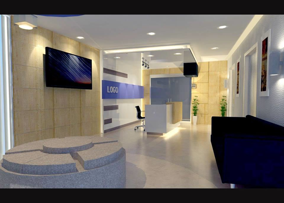 Plush office reception decor by Unbox Design Studio Modern | Interior Design Photos & Ideas