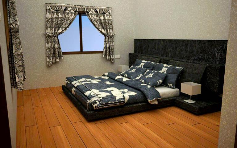 Wood finish master bedroom decor by Harsha B Chavadi Bedroom Minimalistic | Interior Design Photos & Ideas