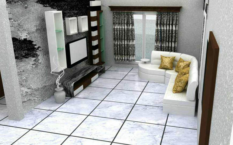 Silver theme living room decor by Harsha B Chavadi Living-room Modern   Interior Design Photos & Ideas