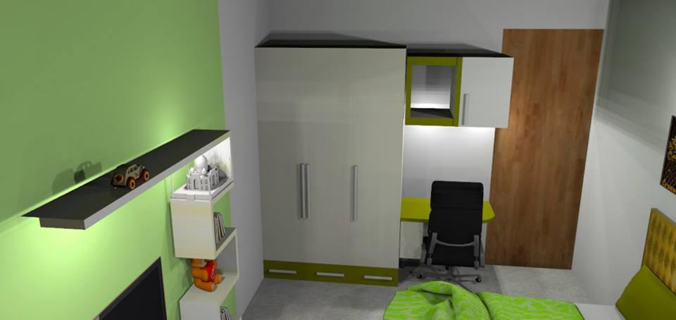 3D design of a bedroom with green walls by Bella Cucina Consultancy Bedroom | Interior Design Photos & Ideas