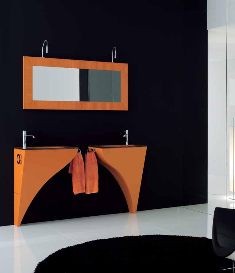A modern orange and black themed bathroom by Bella Cucina Consultancy Bathroom | Interior Design Photos & Ideas