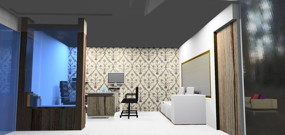 3D design of a minimalist office space by Bella Cucina Consultancy | Interior Design Photos & Ideas