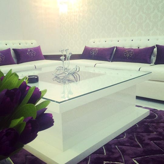 Royal White Themed Living Room With Purple Detailings by Shrey Living-room Modern | Interior Design Photos & Ideas