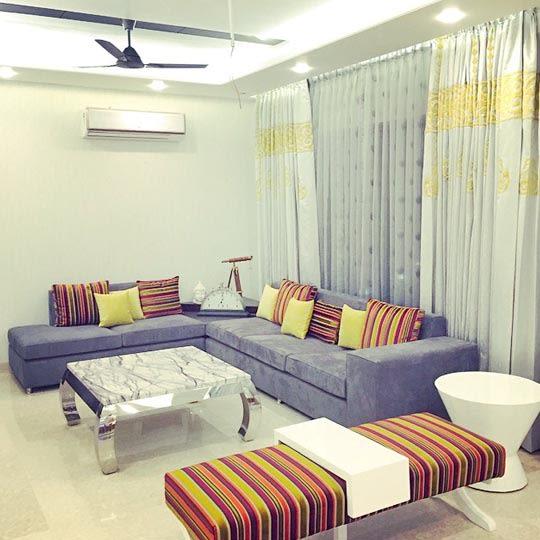 Gray Sofas With Multicolour Stripes Detailing by Shrey Modern | Interior Design Photos & Ideas