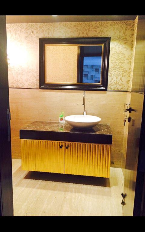 Bathroom With Gold Finish Cabinets by Ram Malhotra Bathroom Modern | Interior Design Photos & Ideas