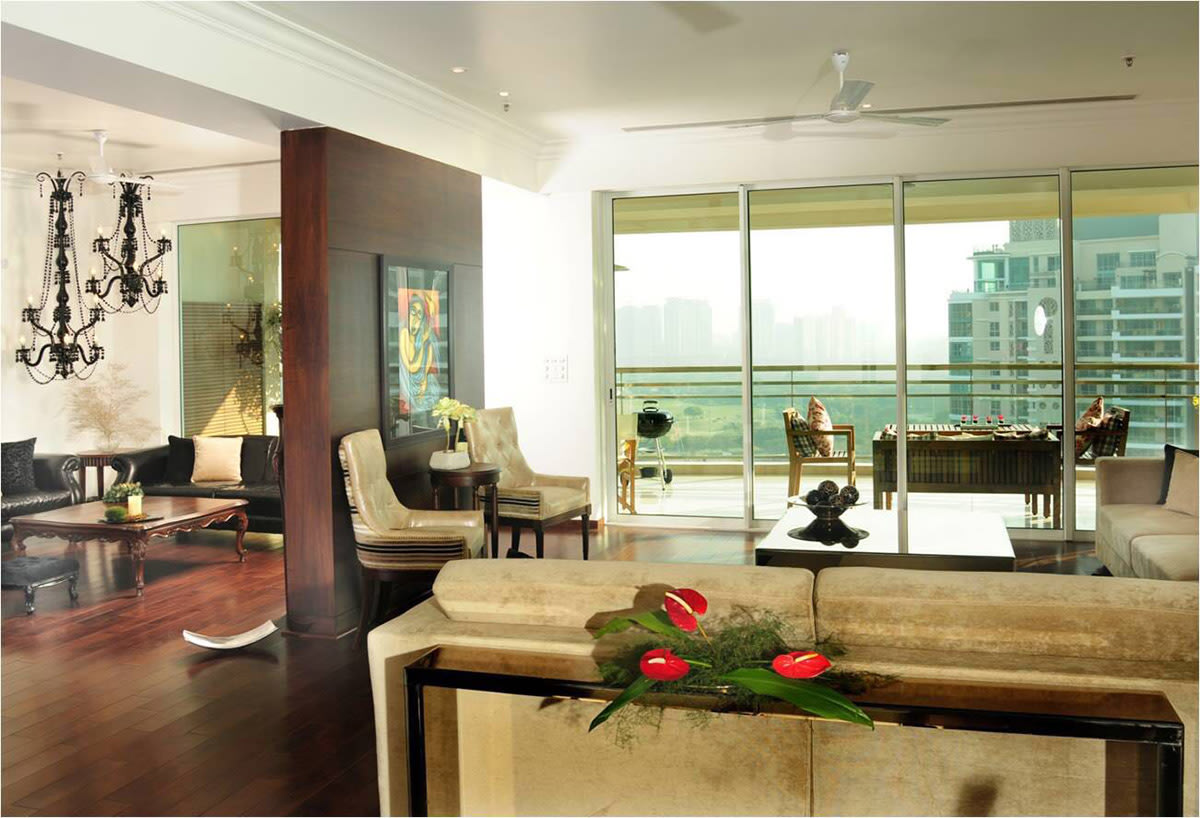 Golden Theme Living Room With Wooden Flooring by Ram Malhotra Living-room Modern | Interior Design Photos & Ideas
