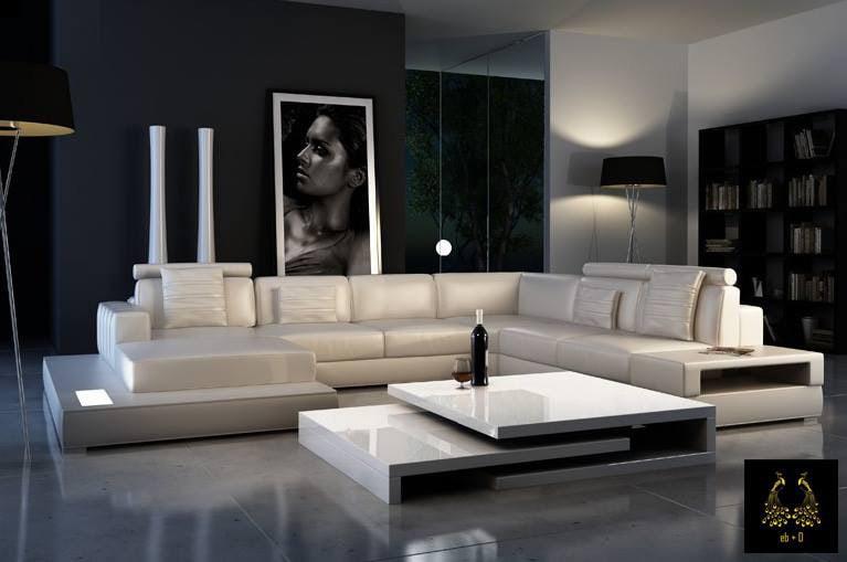 Trendy silver tone contemporary living room decor by eb+D Living-room   Interior Design Photos & Ideas