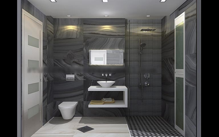 Bathroom With Gray Wall Finish and Walk in Shower by Studio Cityscapes Bathroom Modern | Interior Design Photos & Ideas