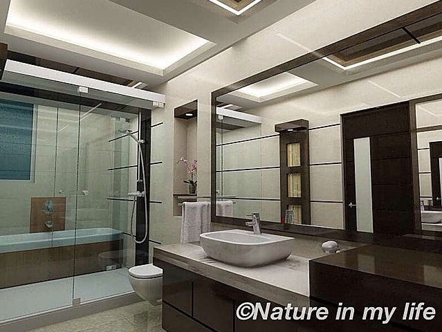 Wooden finish modern bathroom decor by Nature In My life Bathroom | Interior Design Photos & Ideas