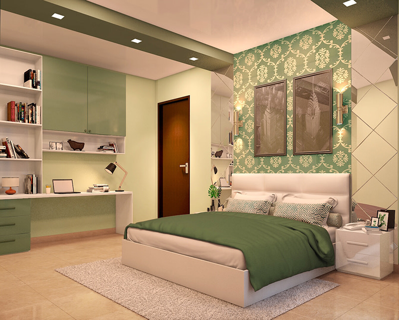 Green and gold theme master bedroom decor by Nature In My life Bedroom | Interior Design Photos & Ideas