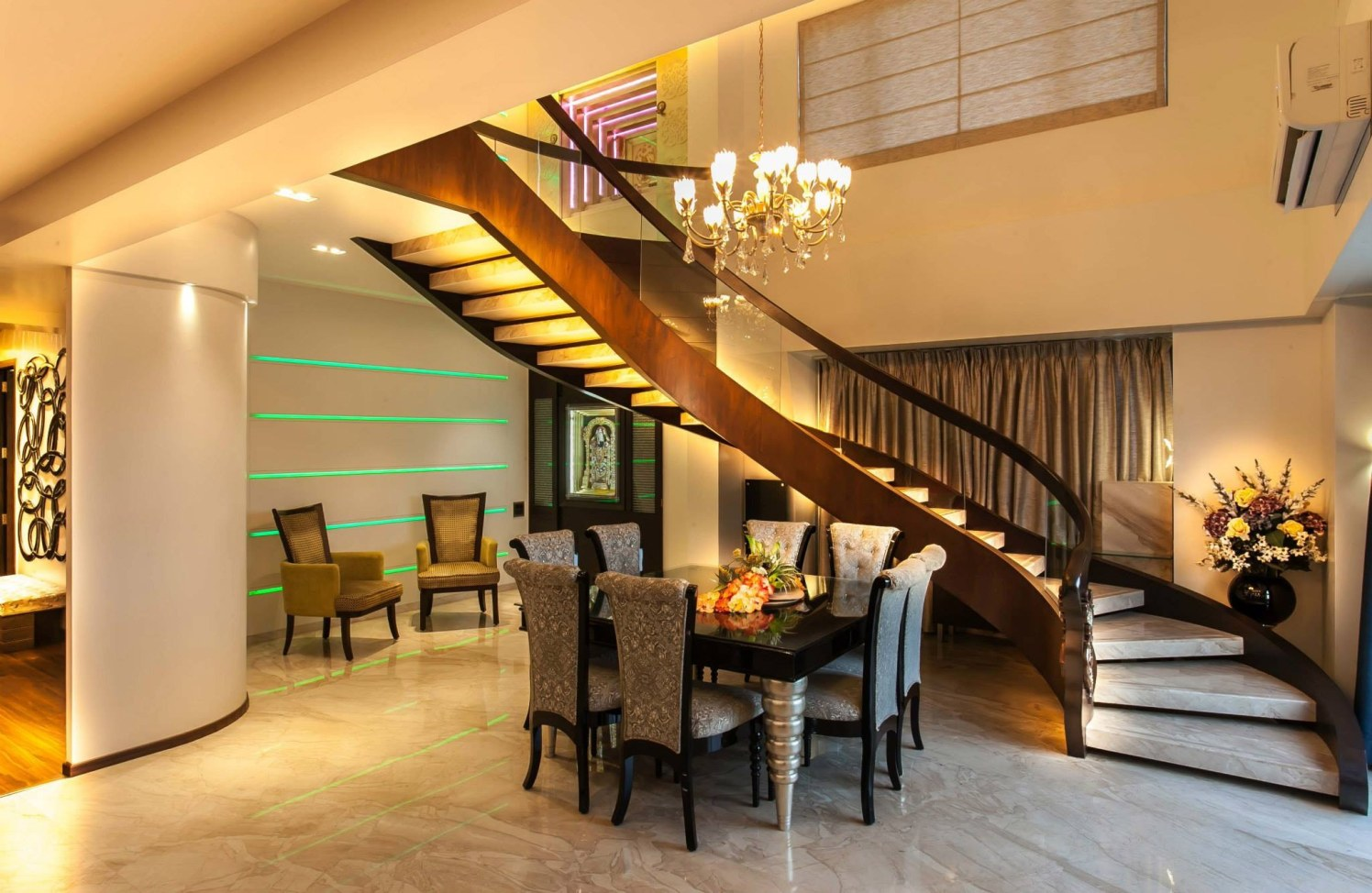 Royal living room stairway by Blue Arch Interiors Indoor-spaces | Interior Design Photos & Ideas