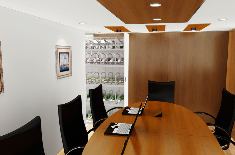 Modern wooden finish conference room decor by Blue Arch Interiors | Interior Design Photos & Ideas