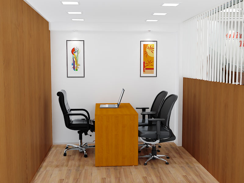 Modern wooden finish cellular style office decor by Blue Arch Interiors | Interior Design Photos & Ideas