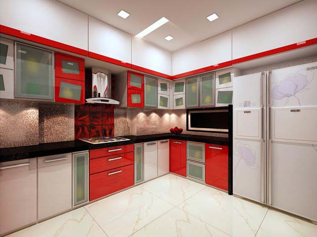 Red L shaped kitchen by Karan patel Modular-kitchen | Interior Design Photos & Ideas