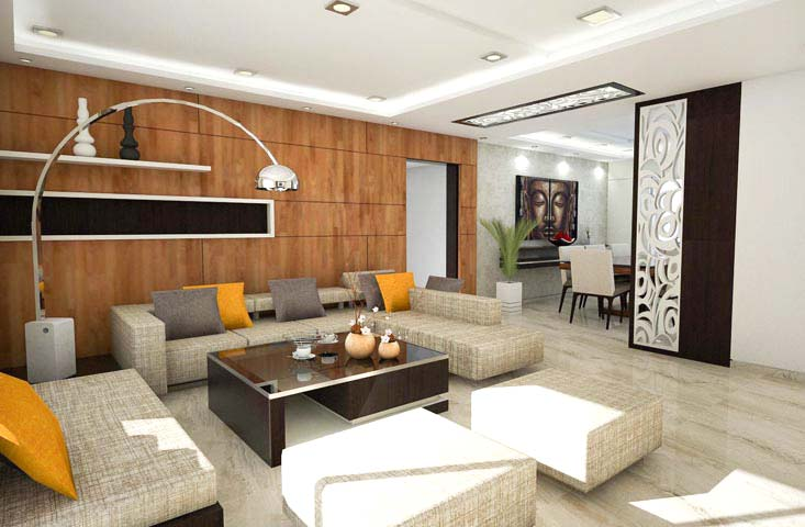 White Themed Living Room With Wooden Textured Wall by Mangesh Mestry Living-room Contemporary | Interior Design Photos & Ideas