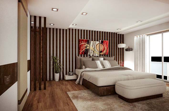 Vintage Theme Bedroom Decor With Gold and White Striped Walls by Mangesh Mestry Bedroom Contemporary | Interior Design Photos & Ideas