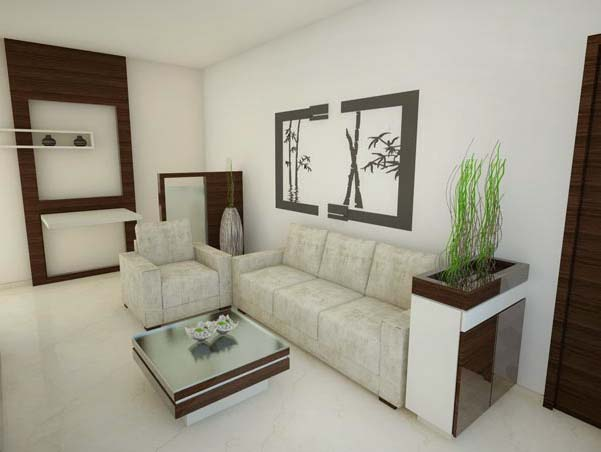 White Themed Nature Inspired Living Room by Mangesh Mestry Living-room Modern | Interior Design Photos & Ideas